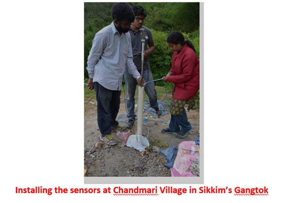 Installing the sensors at Chandmari Village in Sikkim's Gangtok