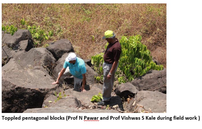 Toppled pentagonal blocks Prof N Pawar and Prof Vishwas S Kale during field work