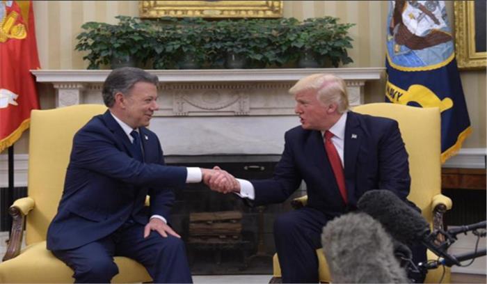 कोलंबिया के राष्ट्रपतिसांतोससे मिलेअमेरिकीराष्ट्रपतिट्रंप