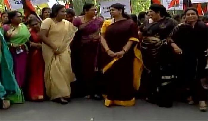 महिला आरक्षण विधेयक के पक्ष में DMK काप्रदर्शन