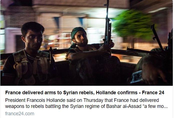 France delivered arms to Syrian rebels, Hollande confirms