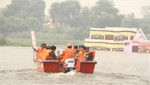 यमुना बैराज में बाढ़ बचाव पर हुआ संयुक्तफील्ड प्रशिक्षण