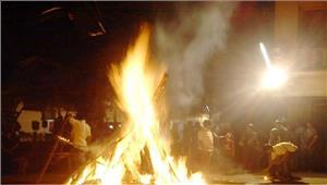बैगाओं ने पूरी रीति रिवाज के साथ पूजा अर्चना कर किया होलिका दहन