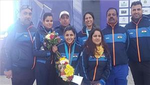स्कीट स्पर्धा में भारत की महिला टीम को रजत  महेश्वरी ने जीता कांस्य