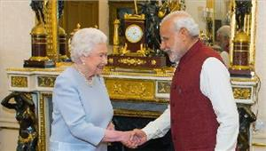 प्रधानमंत्रीमोदी नेमहारानी एलिजाबेथ द्वितीय से की मुलाकात
