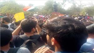 एबीवीपी के विरुद्ध छात्रों का प्रदर्शन