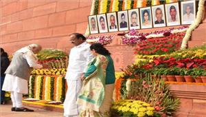 पीएम मोदी औरनायडू नेसंसद पर हुए हमलेकी 16वीं बरसी परश्रद्धांजलि अर्पित की