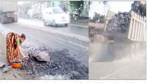 कोयला व पत्थर के असुरक्षित परिवहन से हादसे का खतरा